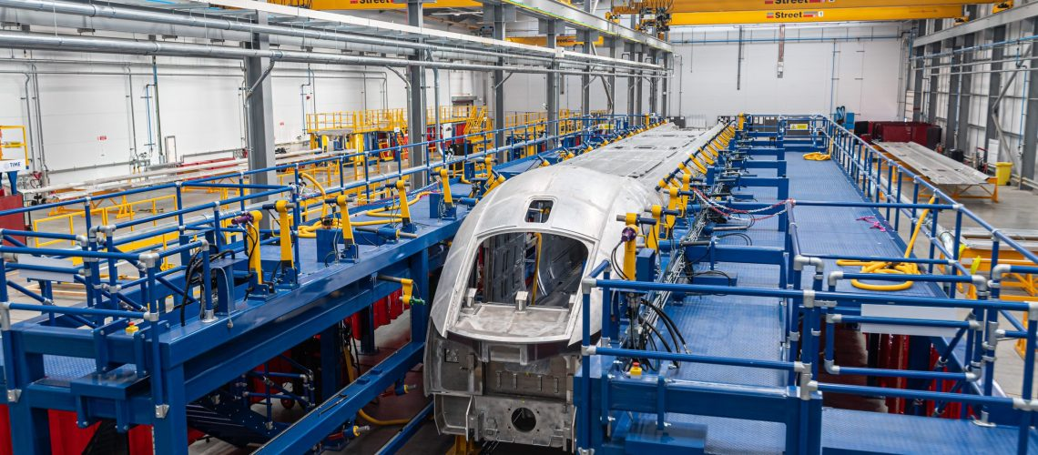 General view of a train shell the Weld Workshop at Hitachi Rail, Newton Aycliffe,